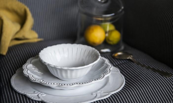 elegant handmade white ceramic dinner set