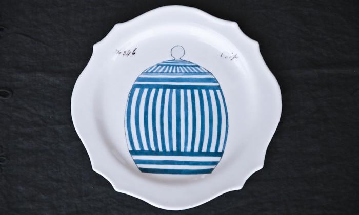 handmade printed glass dinner plate