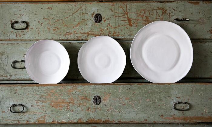 handmade white ceramic dinner set