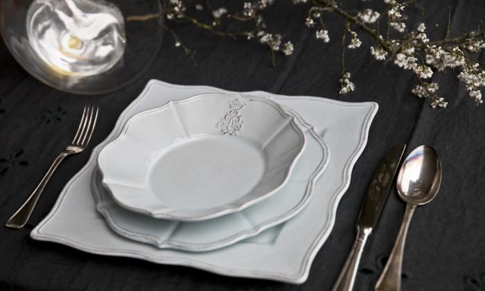 elegant scalloped ceramic dinner set
