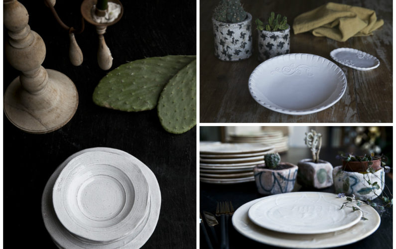 Ethnic and Shabby together! From the left: Pietra, Ricamo and Latte dinner sets