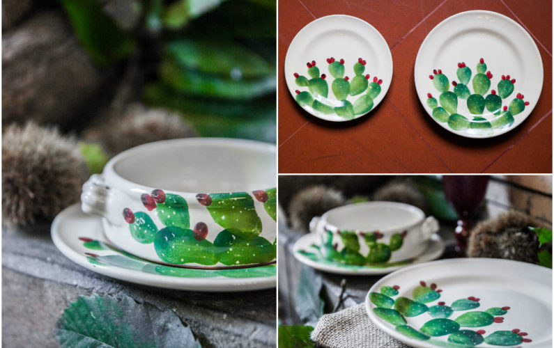 Hand painted Cactus dinner set