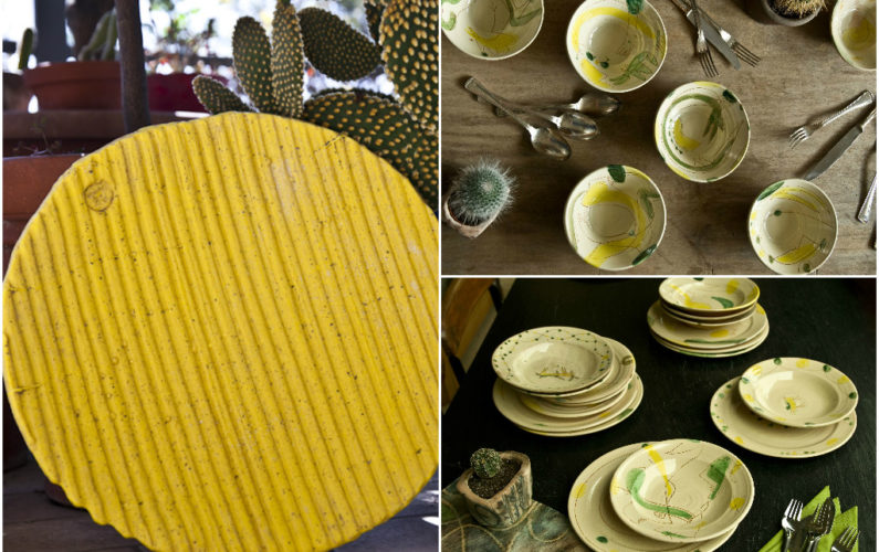 Artwork: Bamboo Yellow Glass Platter and Hans Fischer dinnerware