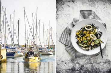 Voglia d'estate, voglia di mare: scialatielli al nero di seppia con totani e peperoni gialli
