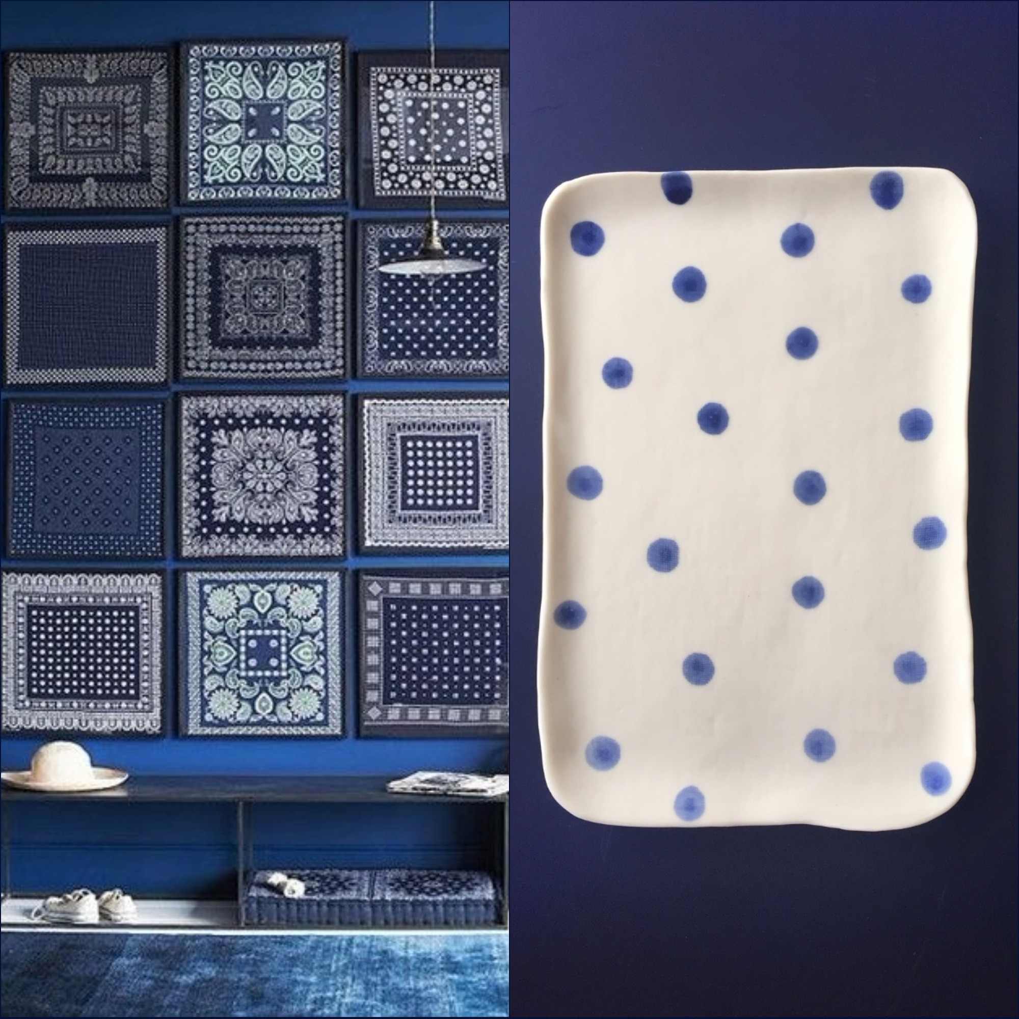 pois blue tray