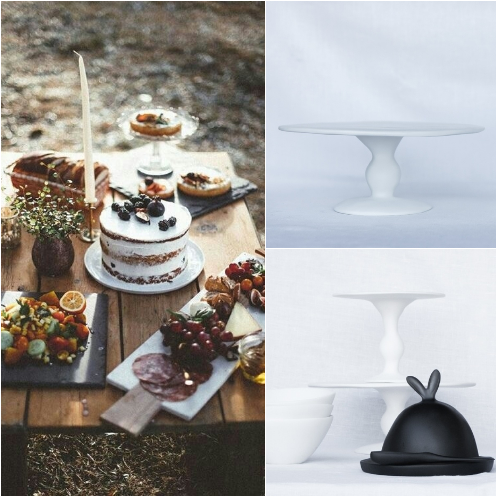 Outdoor party cake stands